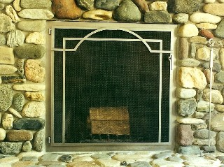 Arched Applique Fire Screen