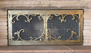 Bronze Scroll Fire Screen