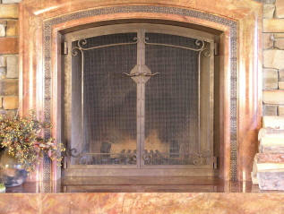 Corner Scrolls Fire Screen