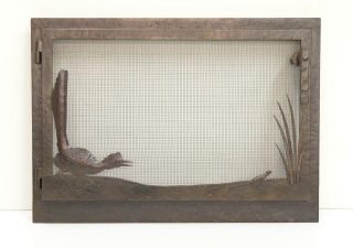 Road Runner w Lizard  Fire Screen