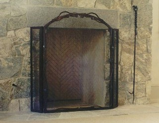 Three-Panel Vines Free-Standing Fire Screen